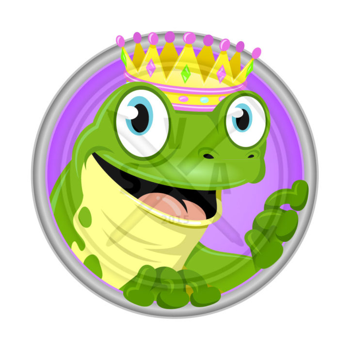royalty free stock illustration of a green frog with crown smiling perfect for fairy tales like the princess and the frog prince