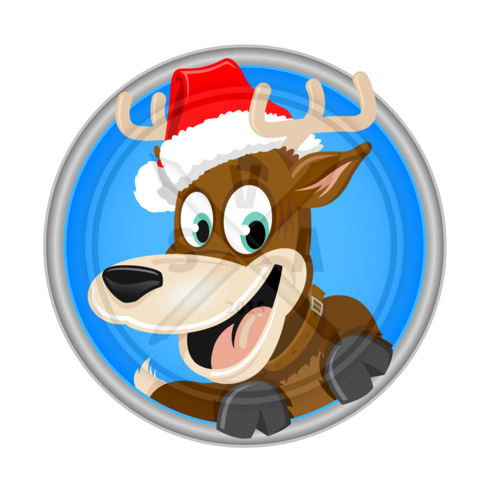 royalty free stock image of a cartoon reindeer with santa hat perfect for the holidays and childrens designs