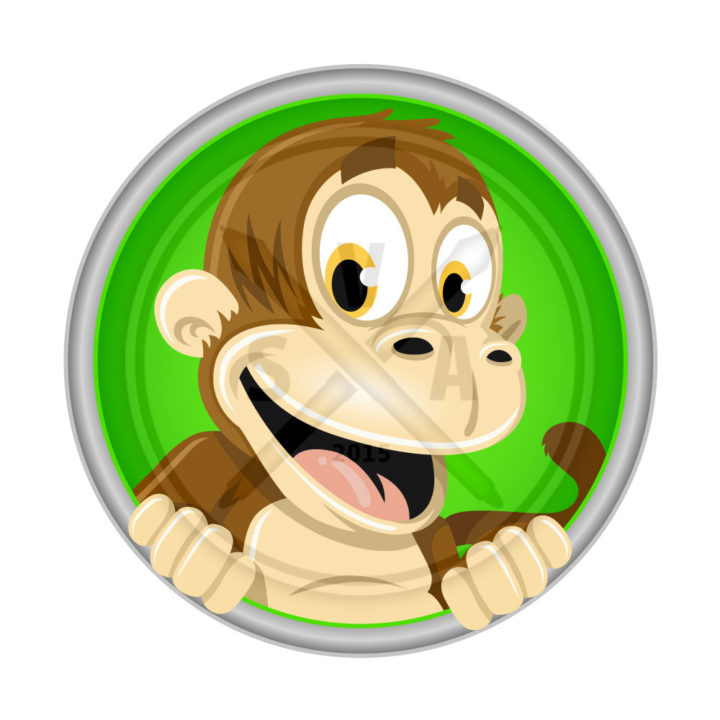stock vector artwork of a cheeerful smiling monkey cartoon graphic