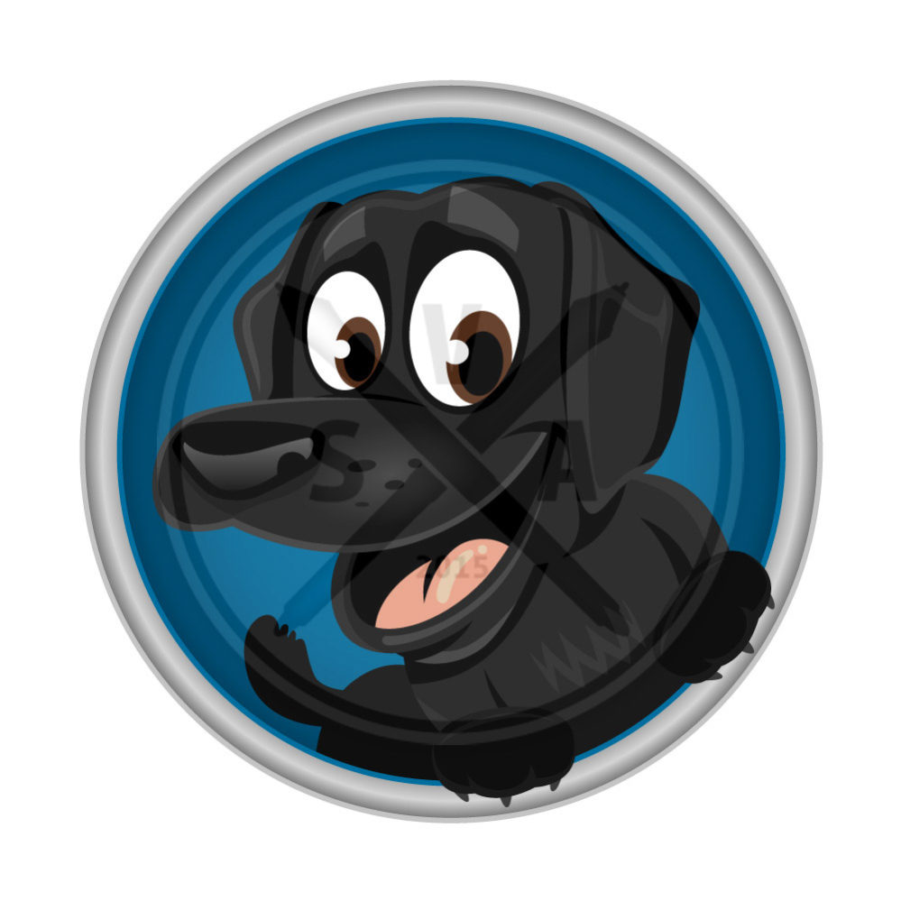 royalty free stock image of a cartoon black labrador retriever dog great for designs for children and pet products