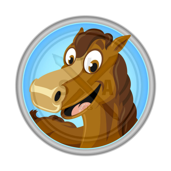 stock vector illustration of brown horse smiling design