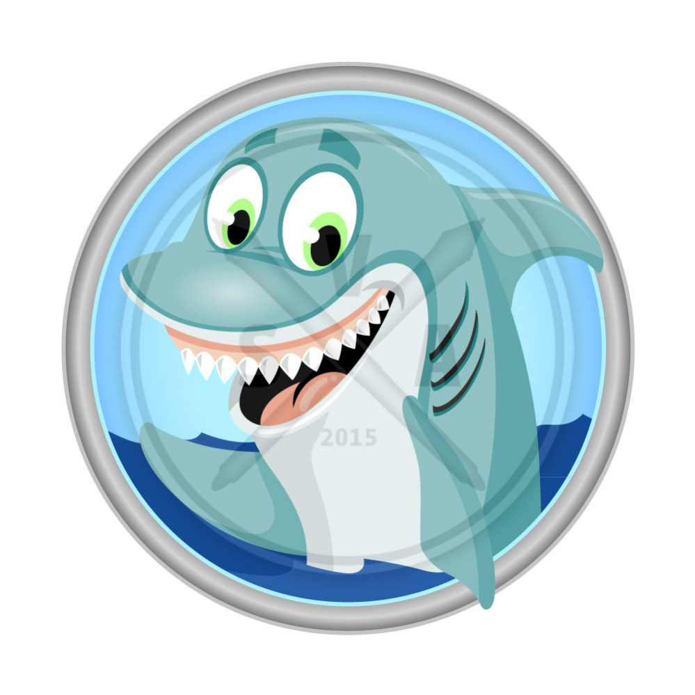 royalty free stock image of a smiling cartoon shark