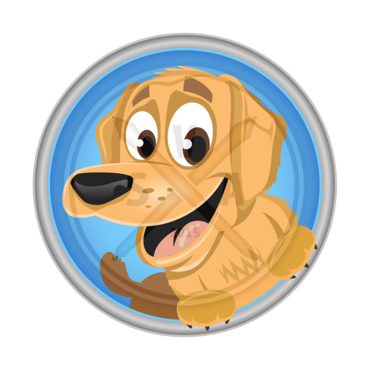 stock vector artwork of a cartoon golden retreiver smiling puppy