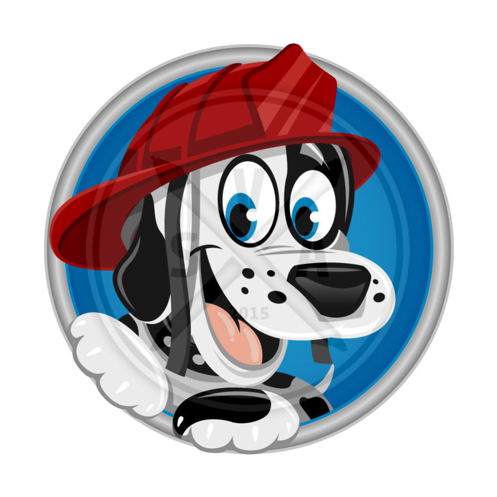 stock vector artwork of a cartoon dalmatian with firefighter's helmet