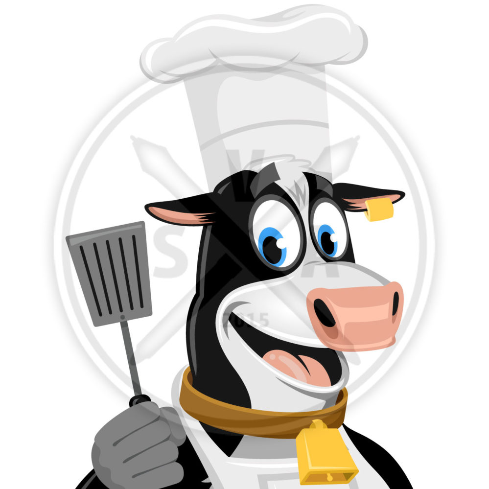 stock vector art of a cow with chef's hat, apron, and spatula