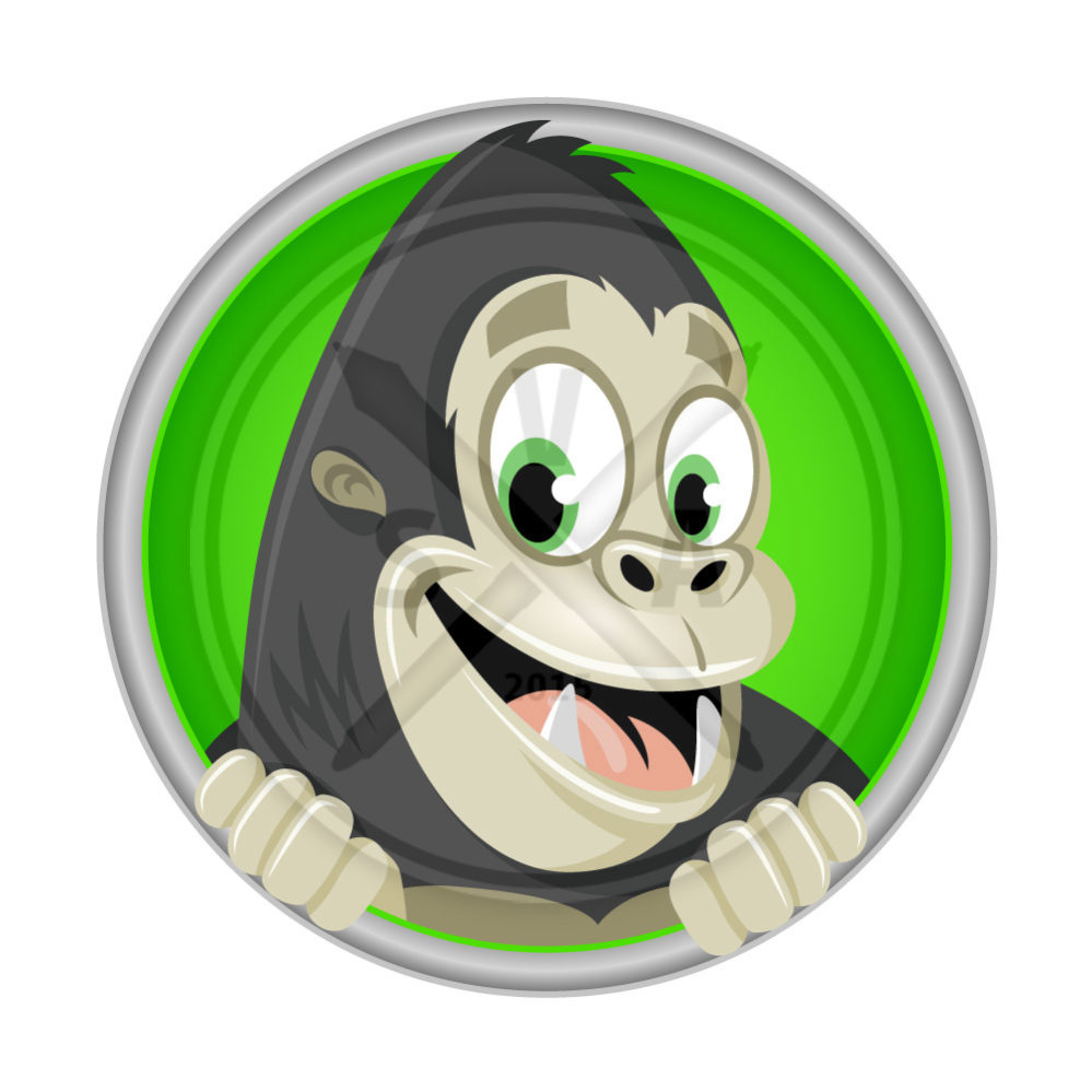 stock vector illustration of a smiling cartoon gorilla in a green circle