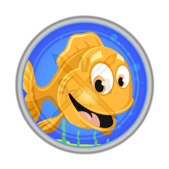 stock vector illustration of a goldfish in a small tank cartoon great for packaging design for childrens products