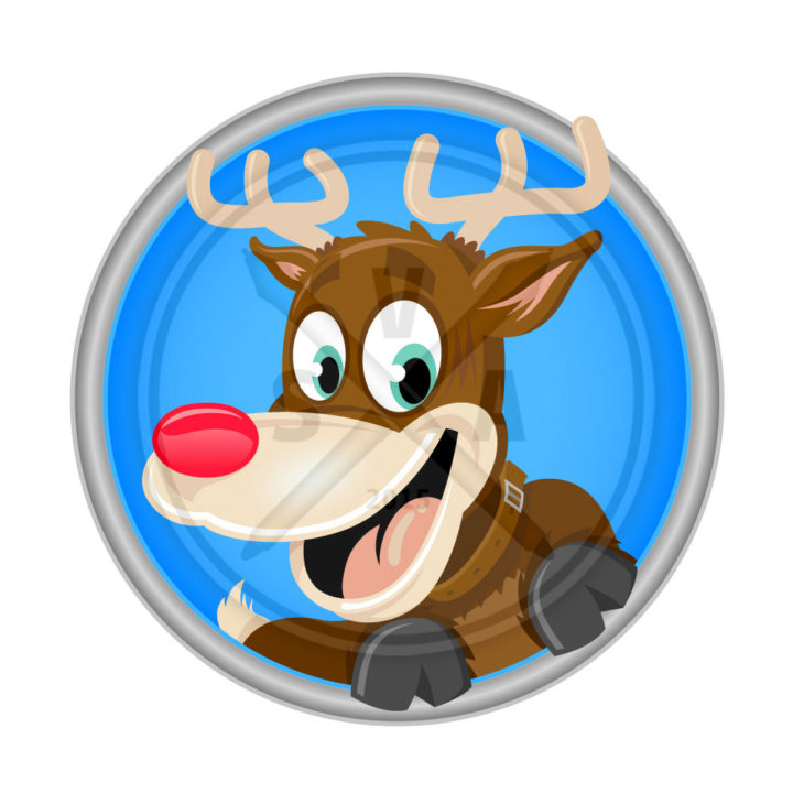 cartoon stock vector artwork of rudolf the red nosed reindeer with hooves up and smiling