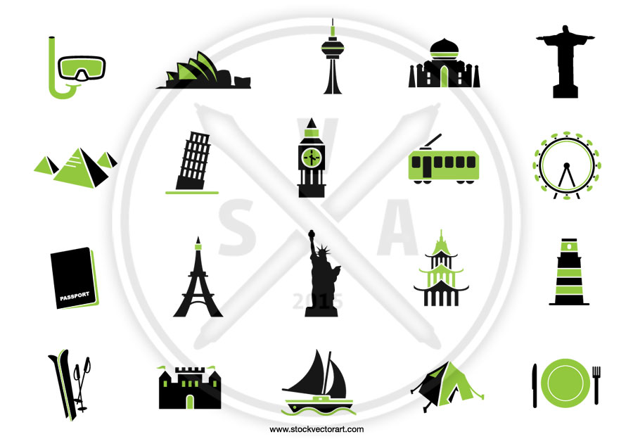 a set of custom vector icons for an advertising campaign with graphic representations of the Eiffel tower, the statue of liberty, and other landmark locations.