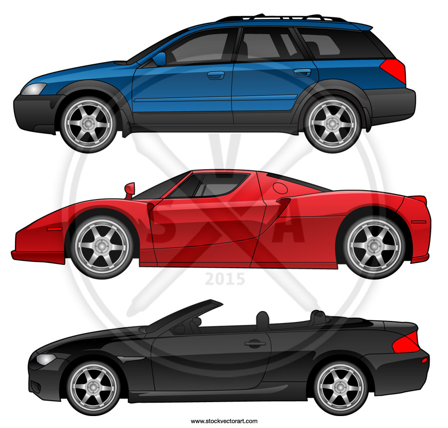 Samples of vector plans for various cars in profile including a Ferrari Enzo.