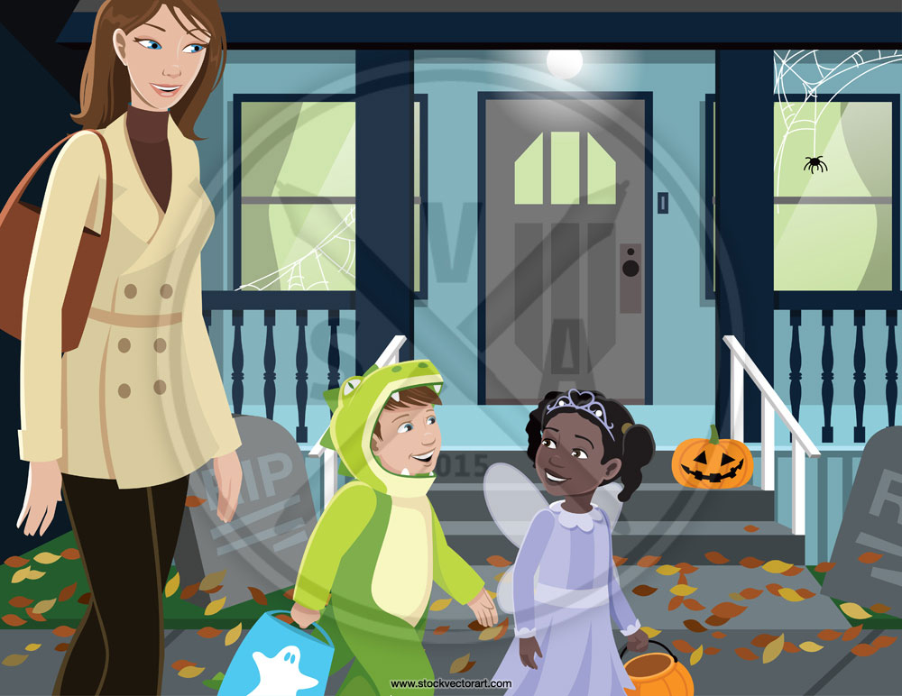Vector illustration of woman with kids trick or treating on halloween