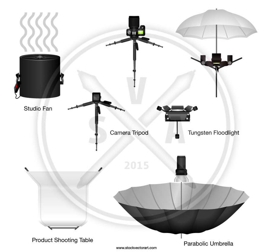 A series of vector based overhead views of studio photo lighting equipment including a parabolic umbrella, studio monoblocs or monolights