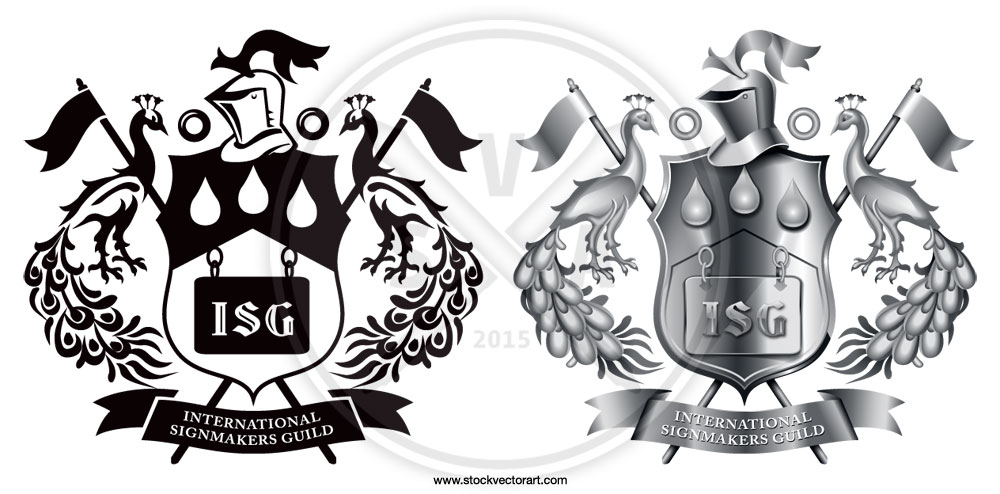 A sample of a crest design or coat of arms rendered in vector shading using advanced adobe illustrator techniques.