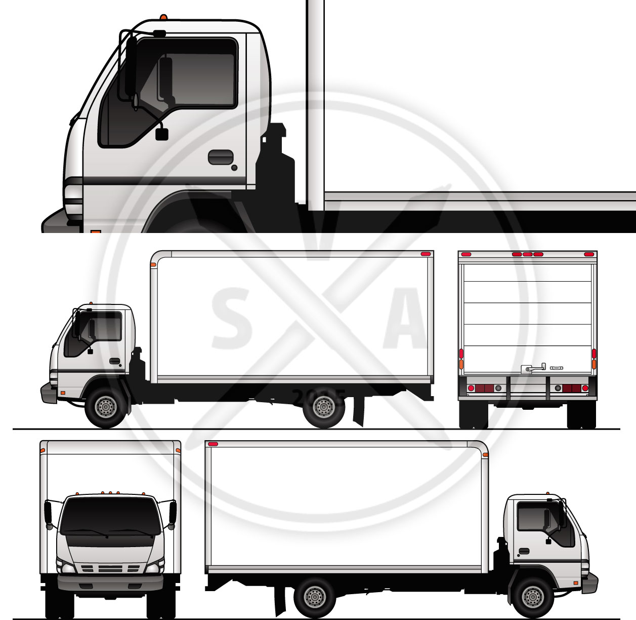 cabover cubevan stock vector graphics for wrap design