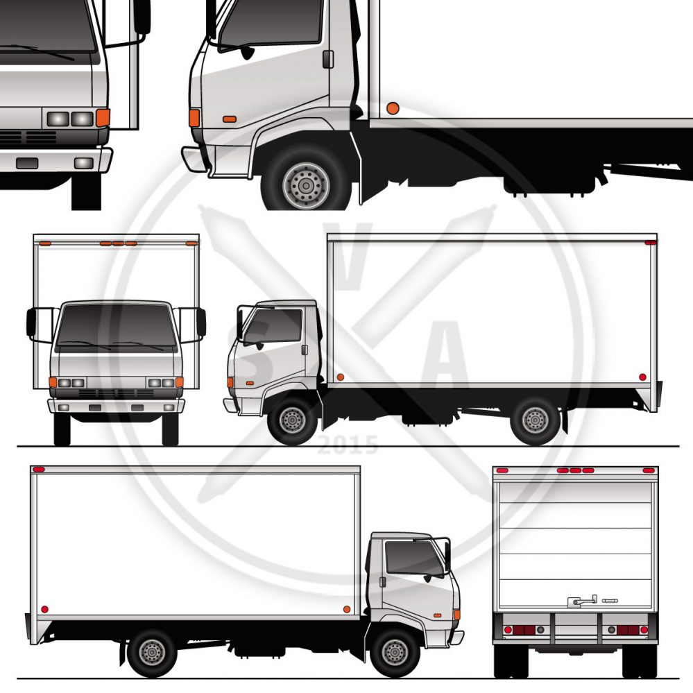 cabover 16 foot truck vehicle outline stock image
