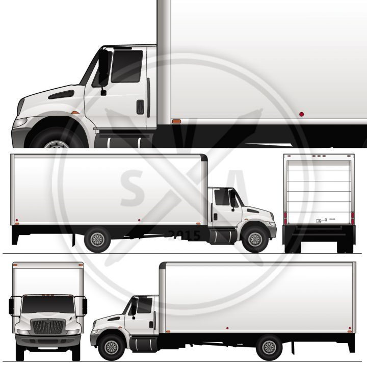 internatinal durastar 24 foot straight truck vehicle outline stock graphics