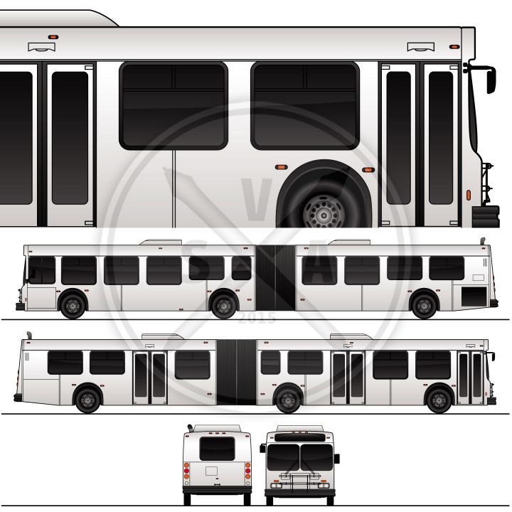 double articulated bus stock graphics eps template