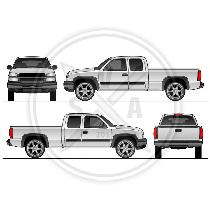 silverado blueprint stock vector eps pickup truck