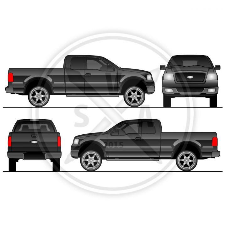 black stock vector illustration of f150 super cab graphics for use with vehicle wraps and decaling