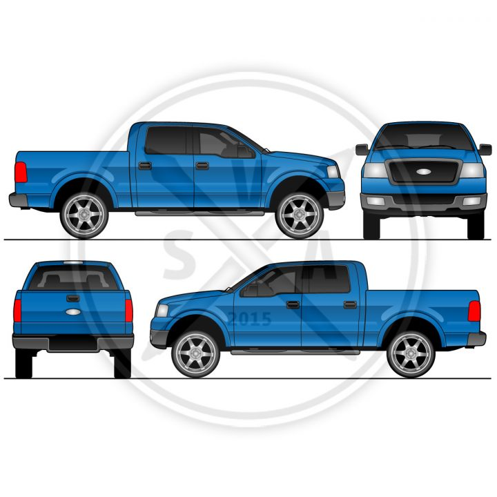 stock vector art of f150 crew cab orthographic view royalty free eps