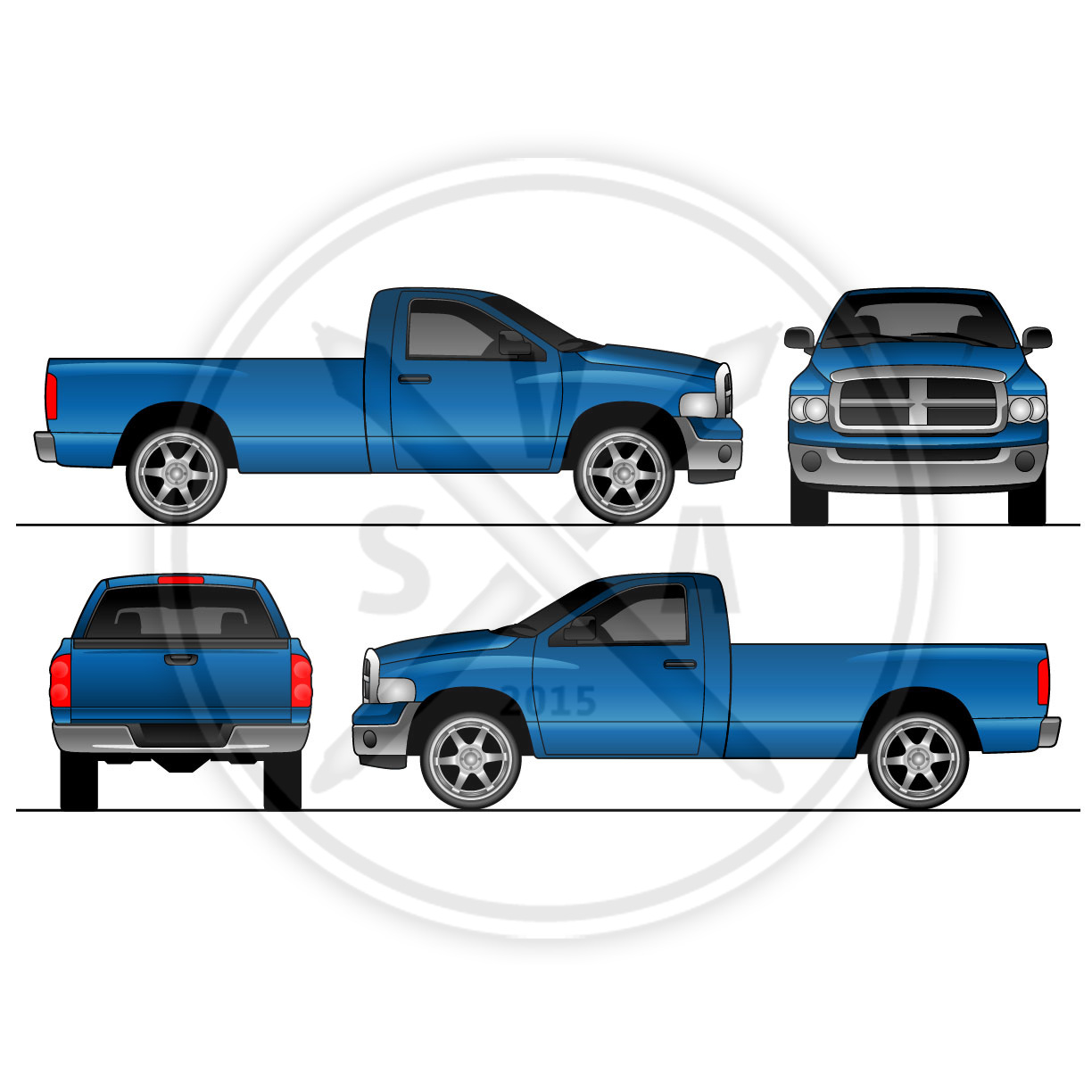car wrap templates free download - dodge ram regular cab design template stock vector art