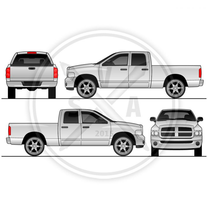 stock image vector vehicle outline of a dodge ram quad cab in white