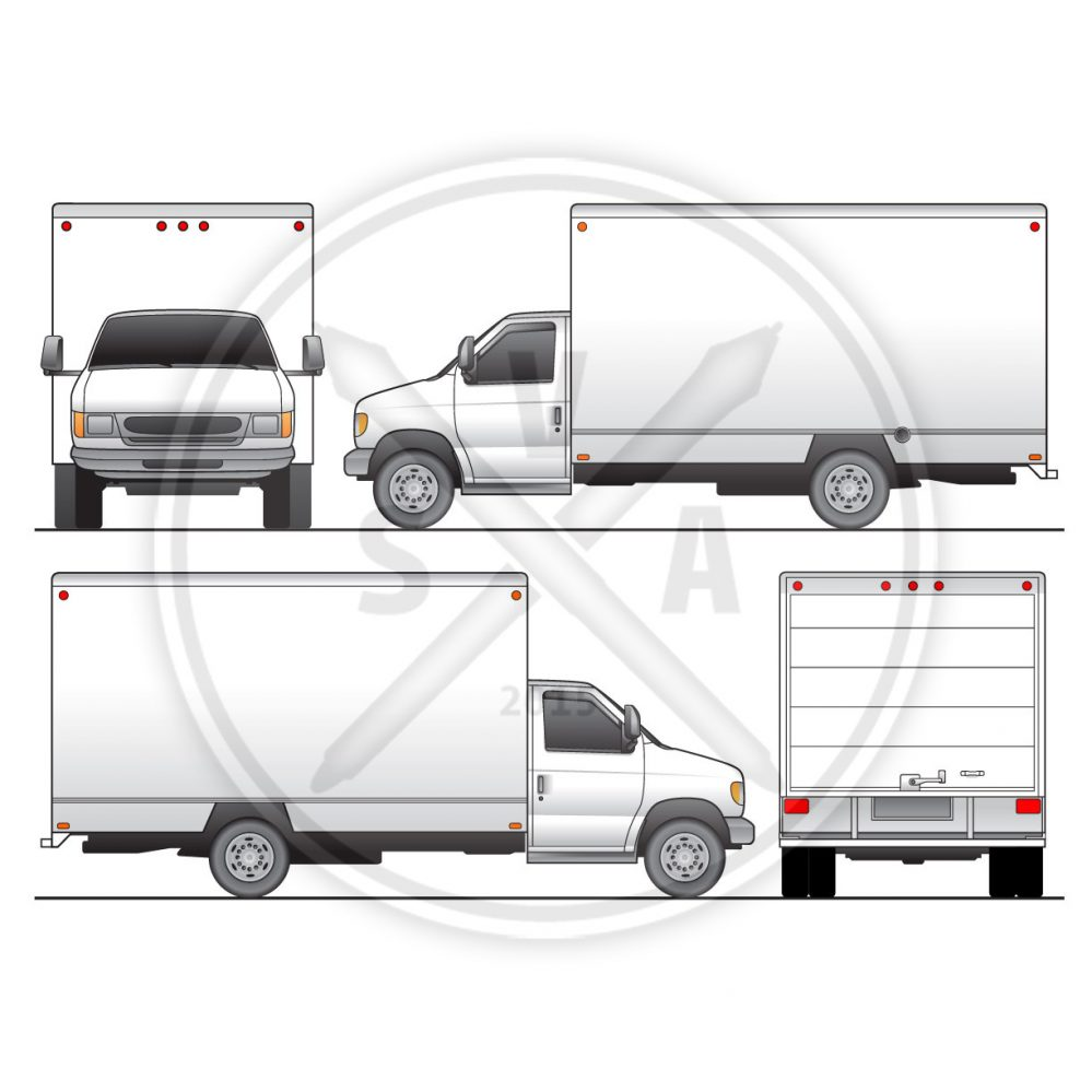 generic cubevan box truck stock vector graphics for wrap designs