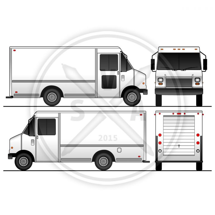 grumman food truck delivery vehicle stock vector eps file