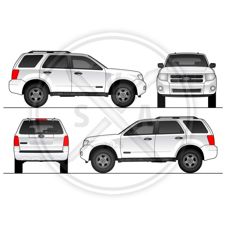 stock vector illustration of a ford escape for branding and mockups