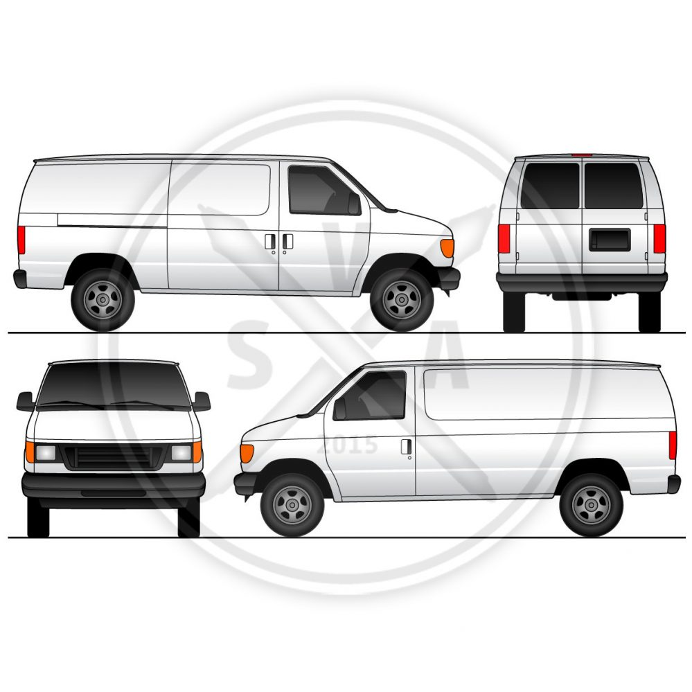 cargo van sliding doors wrap template stock vector art