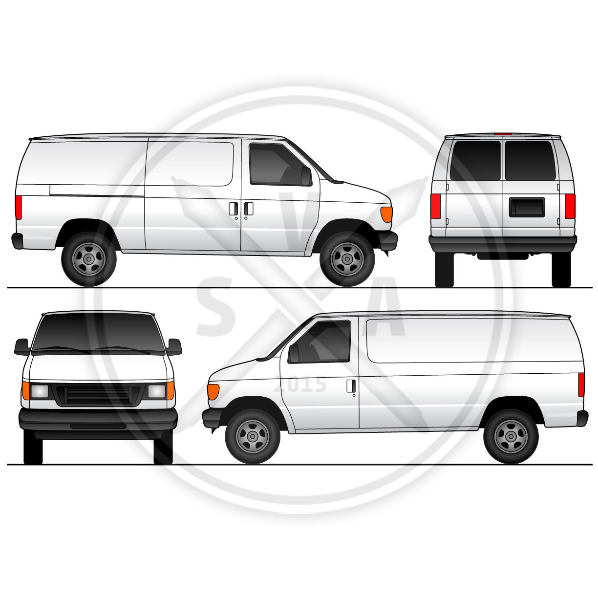Cargo van sliding doors wrap template stock vector art for Truck wrap templates