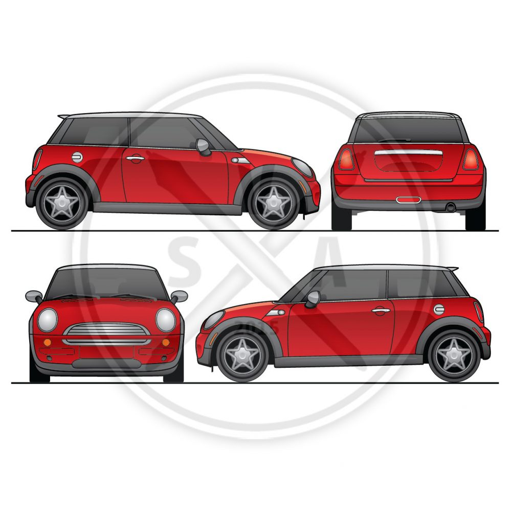 stock vector illustration of a mini cooper in orthographic views layered and good for vehicle wraps and decal design