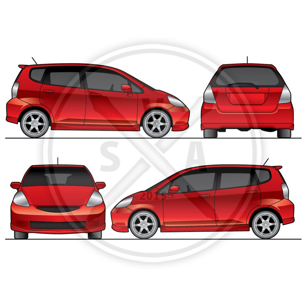 orthographic view of a honda fit older model for wrap template design and brand delivery vehicle stock image