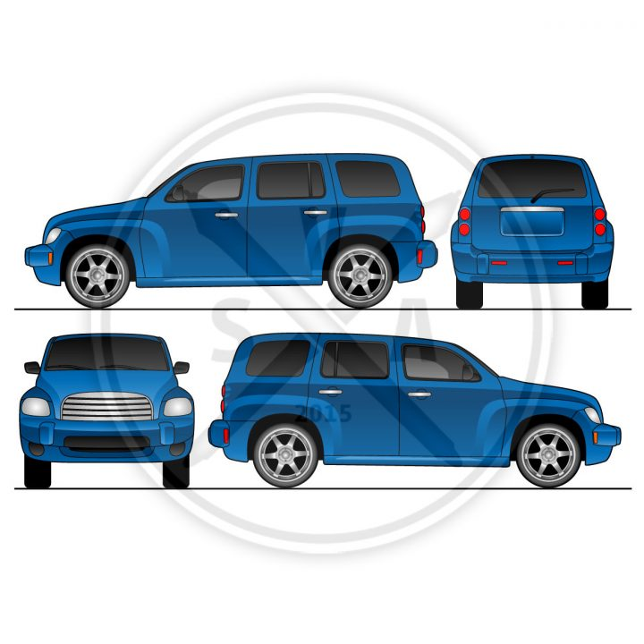 wrap design template of HHR chev utility vehicle vector eps