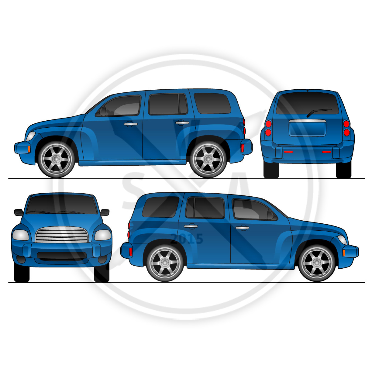 Hhr van wrap design template stock vector art for Truck wrap templates