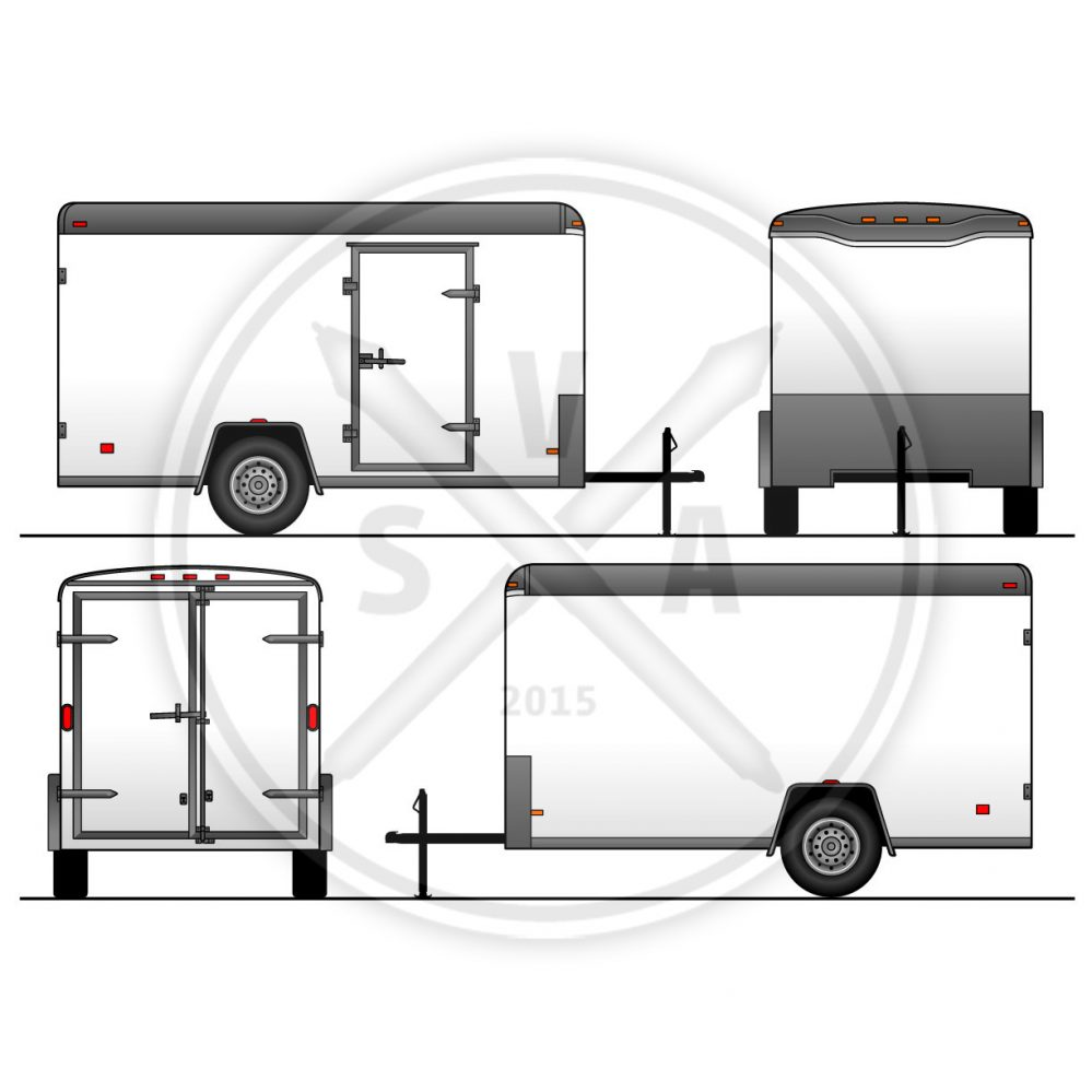 vector blank haulmark trailer in orthographics for branding and wrap design
