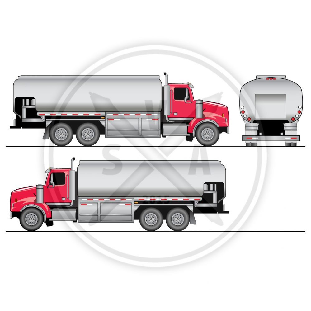 stock vector tandem oil truck eps orthographic view
