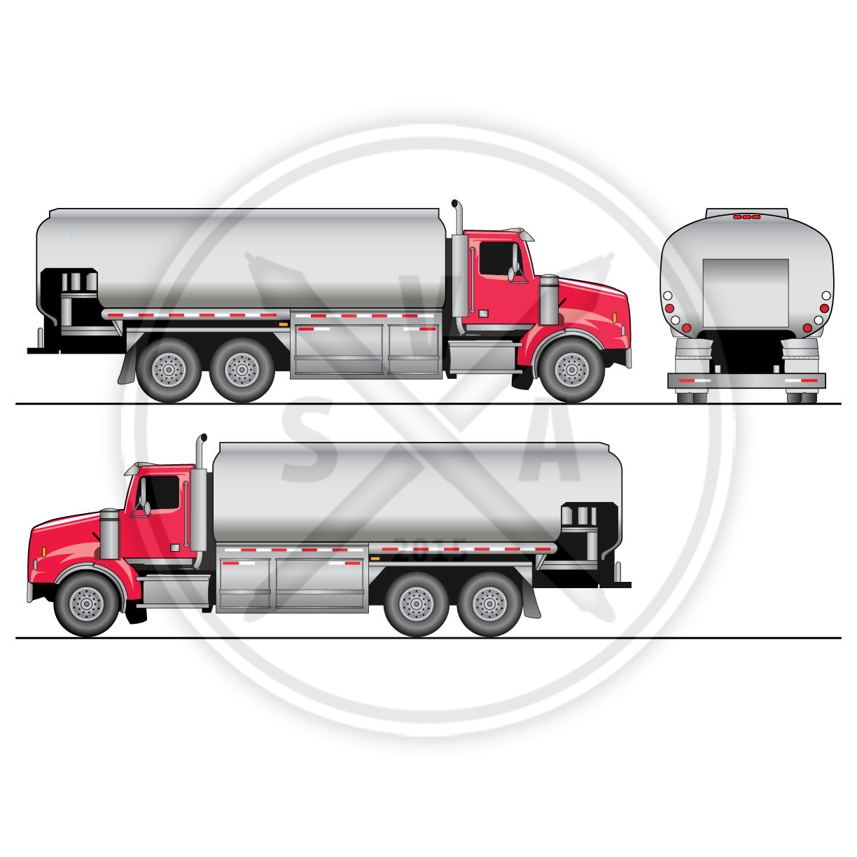 Tandem Tank Truck Oil Template Stock Vector Art