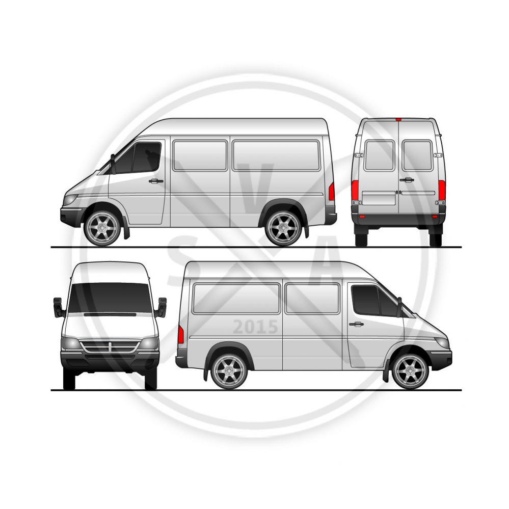 stock vector illustration of a sprinter van in four views and downloadable eps