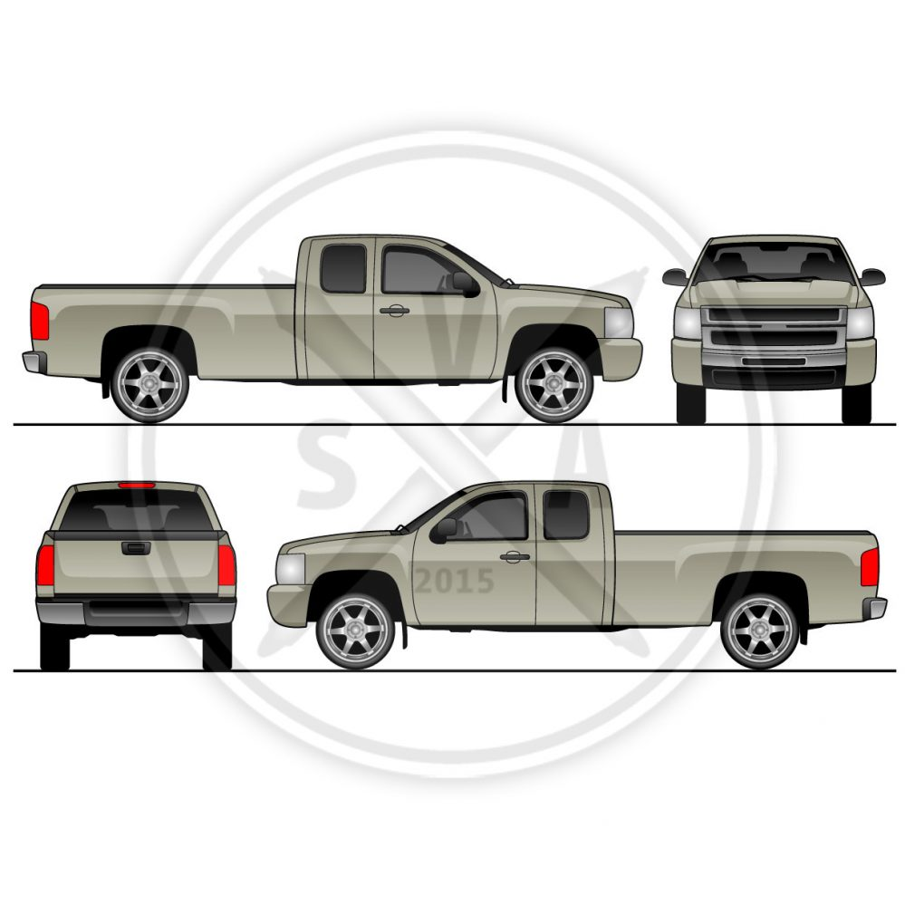 wrap template of an extended cab silverado pickup truck vector artwork