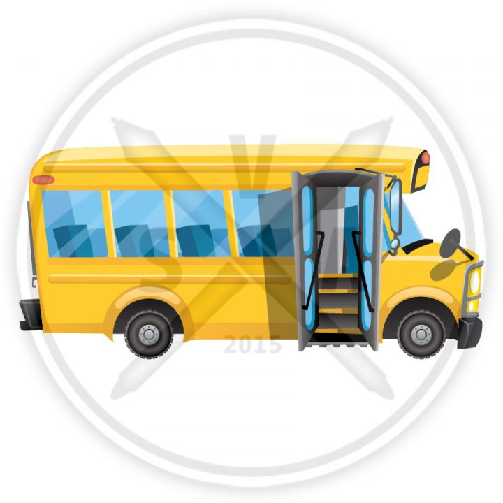 stock vector illustration of a cartoon yellow school bus with open door.