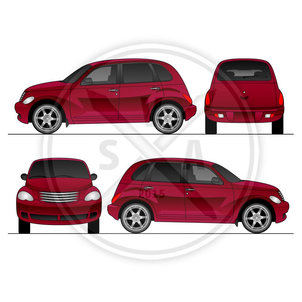 stock eps illustration of a pt cruiser in side front and rear views.