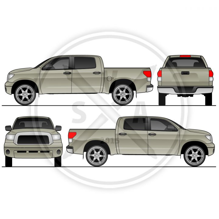 orthographic views of a vector outline of a toyota tundra for wrap design and graphics