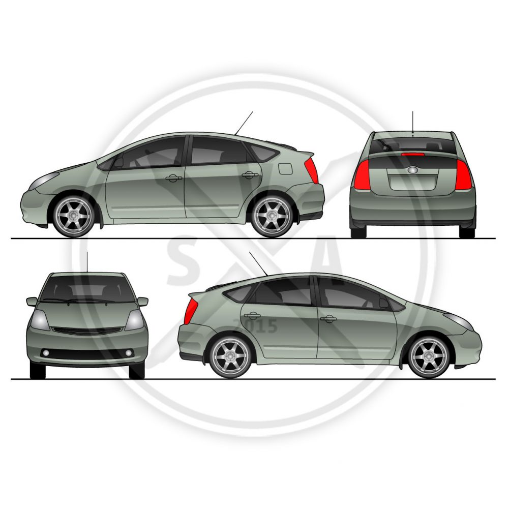 prius vehicle wrap template stock vector art