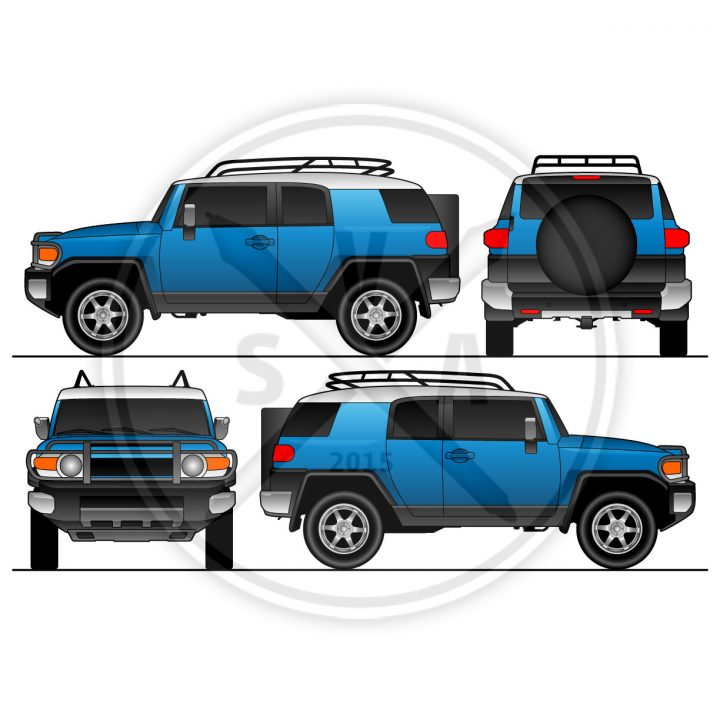 orthographic view of blue vector fj cruiser for mockups, layouts, and vehicle wrap designs.