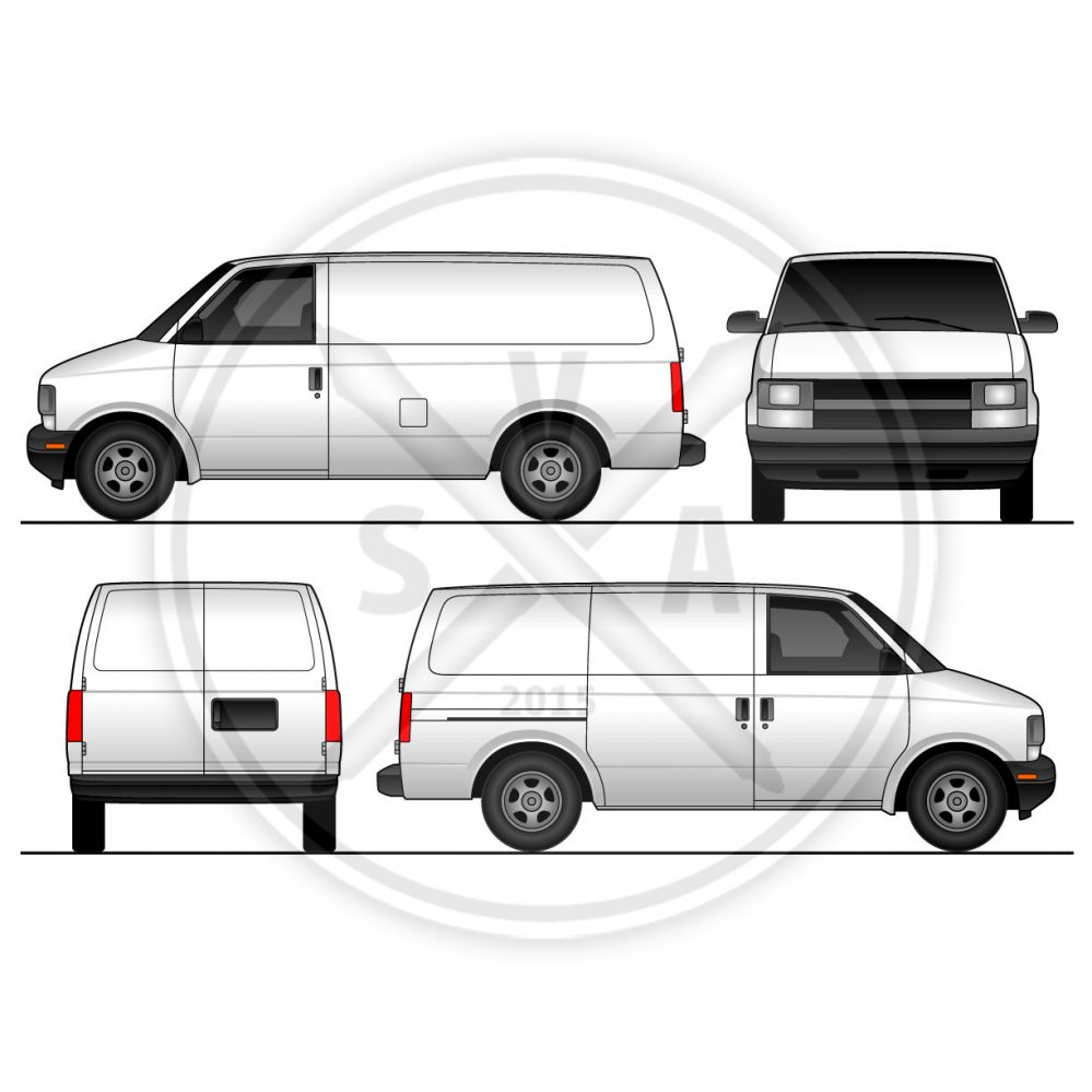 wrap template of chevrolet astro van in four views