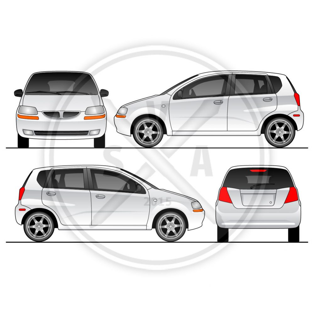 chev aveo compact car orthographic view vector art for vehicle wrap branding and mockups