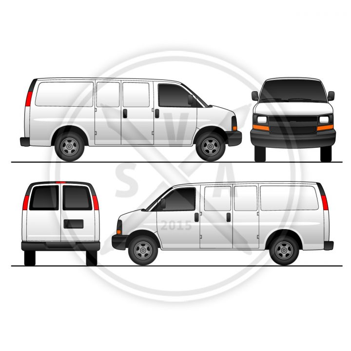 chevrolet express van with swinging doors wrap design and branding template