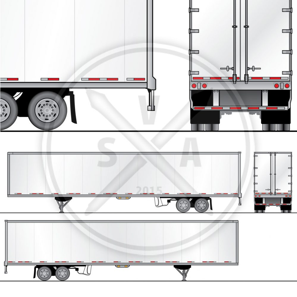 53 foot trailer for wrap design template as vector eps art