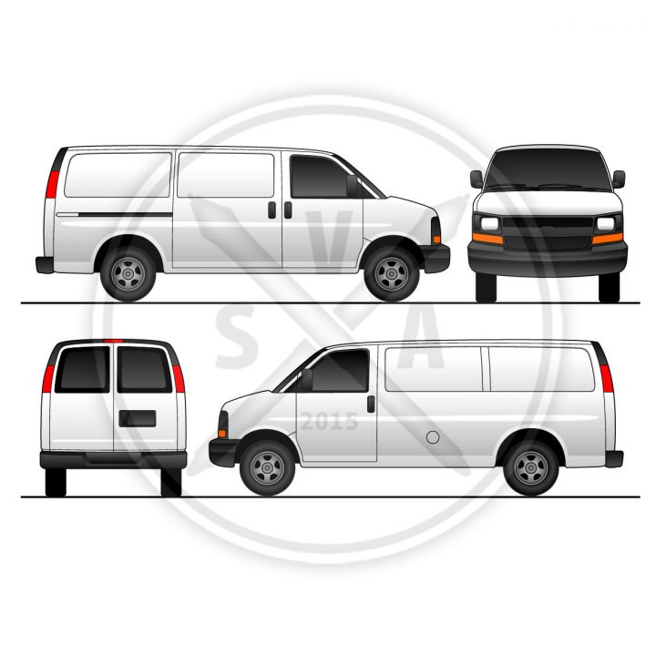 blank vector outline of chev express van with sliding door for vehicle wraps and company branding projects